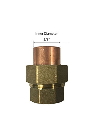 Libra Supply 1/2'' ,1/2 inch, 1/2-inch Lead Free Copper Sweat Union C x F (Copper + Brass + Copper) Solder Joint, (click in for more size options)Copper Pressure Pipe Fitting Plumbing Supply by Libra Supply