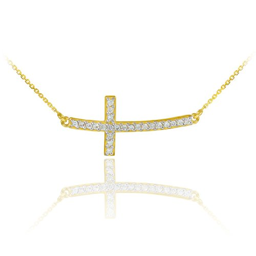 14k Gold Diamond Designed (14k Gold Sideways Diamond Curved Cross Pendant Necklace (16 Inches))