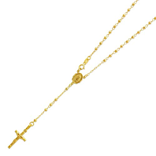14K Yellow Gold Chain Cross Necklace DC Bead Rosary Necklace (16, 18, 20, 24, 26