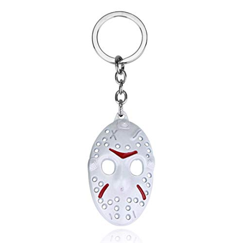 Dan's Collectibles and More Jason Friday The 13th Keychain Key Chain Hockey Mask Halloween Horror Movie Killer Pendant w/Gift Box (WhiteMask)