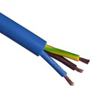 HDIUK 25m roll Blue Arctic grade 1.5mm² Rated 16A BS6500 3 Core Mains Flex cable. Twin and earth for IP44 hookup trailing fly leads etc HDinterconnects
