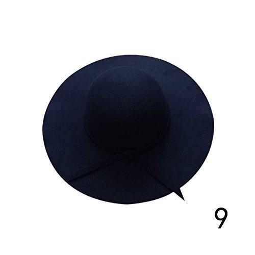 Women Ladies Vintage Floppy Wide Brim Wool Felt Bowler Hat Summer Sun Beach Hat (Navy Blue)