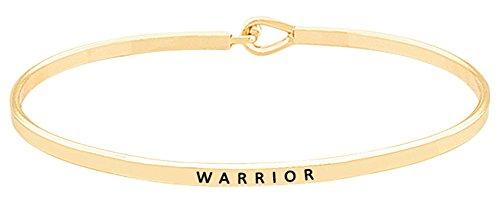 Inspirational WARRIOR Gold Tone Positive Message Thin Bangle Hook Bracelet for Best Friends, BFF Besties