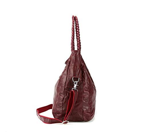 Peau Bandoulière Shopping Couture De En Winered Portable Cassé Sac La Dames Femmes Une Épaule Mode Mouton 4nExqgU