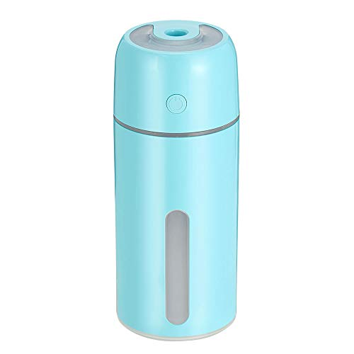 Me Sugar Household/Car USB Mini Humidifier, 250ML Super Quiet Humidifier with 7-Color LED Night Light for Bedroom Office SPA Car Use, Auto Shut-Off, 6 Hours Operating Time (Blue)