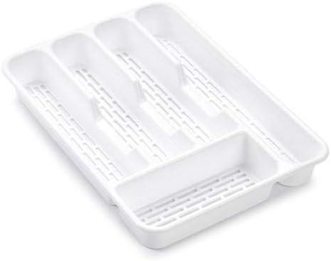 PLASTIFIC 2 Tier Cutlery Tray Flatware Organiser Strong Plastic Drawer Sliding Tidy White with Fuchsia Slider on top, 40 x 29.5 x 7 cm