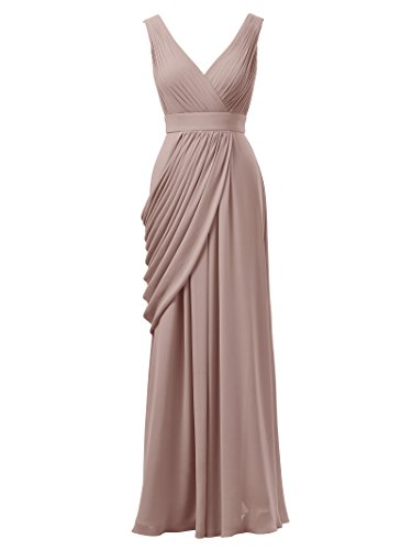Women Party Gown Long Alicepub V Dress Pink for Formal Silver Evening Neck Bridesmaid A8xaxwvY