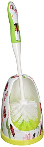 Designer Series By Eagle Toilet Brush and Holder Set, Ladybug Print Designer Toilet Brush