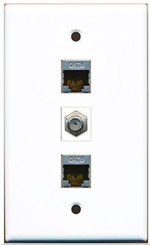 RiteAV - 1 Port Coax Cable TV- F-Type 2 Port Shielded Cat6 Ethernet Wall Plate