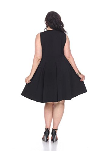 White Mark Women's Plus Size Crystal Fit & Flare Sundress 3XL Black