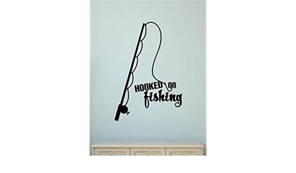Hooked On Fishing Vinyl Decal Wall Decor Sticker Words Lettering Quote Art Gift