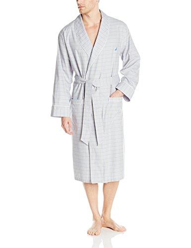 Nautica Men's Long Sleeve Lightweight Cotton Woven Robe, ...