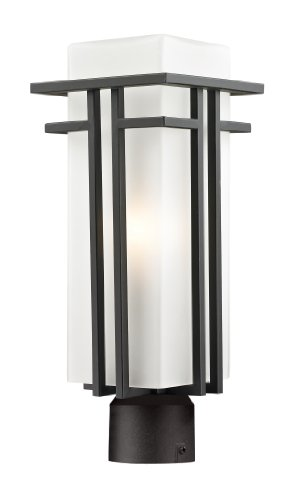 Z-Lite 550PHM-ORBZ-R Outdoor Post Light with Aluminum Frame, Matte (Abbey Post Lantern)