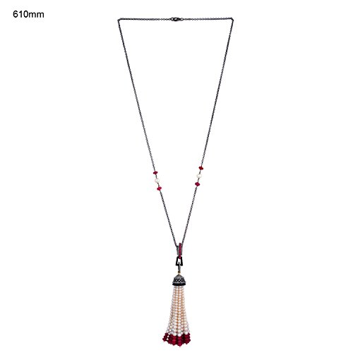 Ruby Pearl Onyx Diamond Tassel Necklace in 18K Gold & Sterling Silver by Mettlle