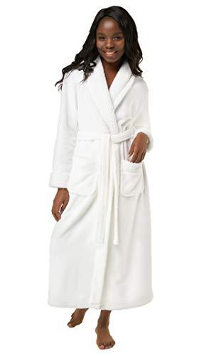 Women's Plush Soft Warm Fleece Bathrobe, Comfy Womens Robe White