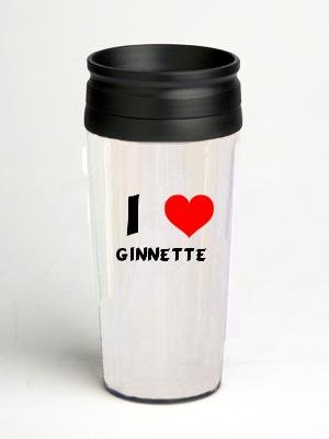 16 oz. Double Wall Insulated Tumbler with I Love Ginnette - Paper Insert (initials)