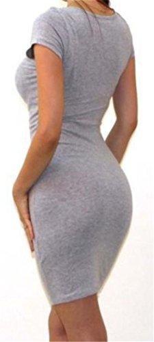 Cut Mini Bodycon Grey Low Sleeve Dress Big Stylish Short Women's Tang aBxwnOqFX