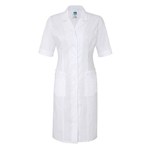 Adar Pop-Stretch Junior Fit Short Sleeve Back-Smocked Dress - 3236 - White - XXS (Smocked Twill Dress)