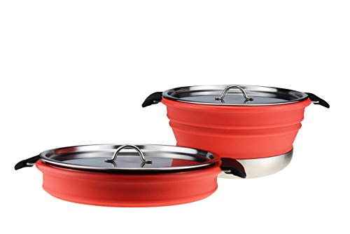 Dr. Si 3.8 Liter / 4 Quarts Collapsible Cooking Pot Silicone FDA proved with Stainless Pot and Durable lid, Excellent Choice for Outdoor Camping, BPA Free, Easy for stroage (Cherry Red)