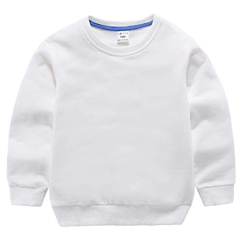 HAXICO Unisex Kids Solid Cotton Pullover Sweatshirt Toddler Baby Boys Crewneck Long Sleeve Sweatshirt Tops Blouse