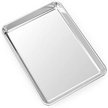 Small Baking Sheet Stainless Steel Cookie Sheet Mini Toaster Oven Tray Pan, Rectangle Size 10.4 x 8 x 1 inch, Non Toxic & Healthy,Superior Mirror Finish & Easy Clean, Dishwasher Safe By HEAHYSI