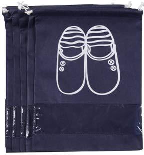 10 Pack Bolsas para Zapatos, Bolsa Impermeable Telas no Tejidas con Ventana Transparente con Dibujar Cadena de Lazo para Botas, Zapatos y Sandalias