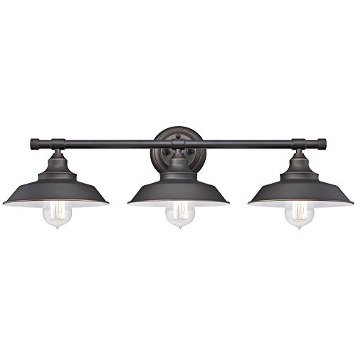 Westinghouse Lighting 6343400 Iron Hill Three-Light Indoor Wall Fixture, Oil Rubbed Bronze Finish with Highlights and Metal Shades, 3 White (Light Wall Fixture 3 Bulbs)