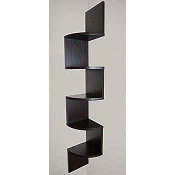 Adorn Home Essentials| Corner Zig Zag Wall Mount Shelves| 5-Tier, Walnut Finish