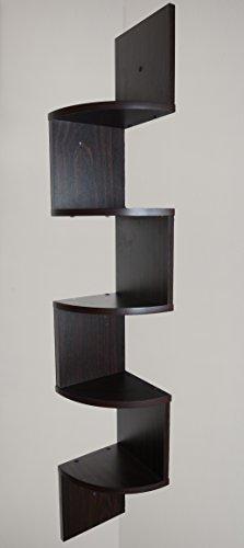 Adorn Home Essentials| Corner Zig Zag Wall Mount Shelves| 5-Tier, Walnut Finish by Adorn Home Essentials (Image #3)