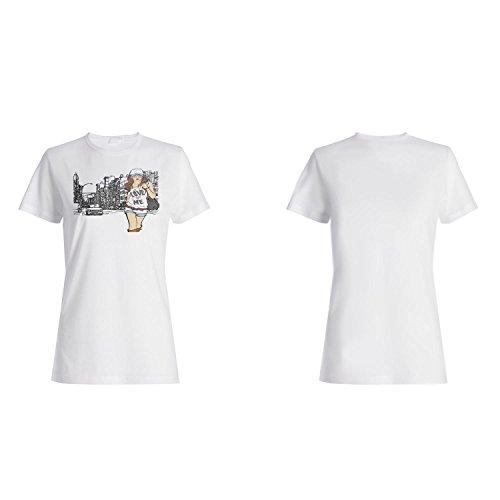 Mode Mädchen Frauen lustige Vintage Kunst Stadt Liebe Damen T-shirt xx92f