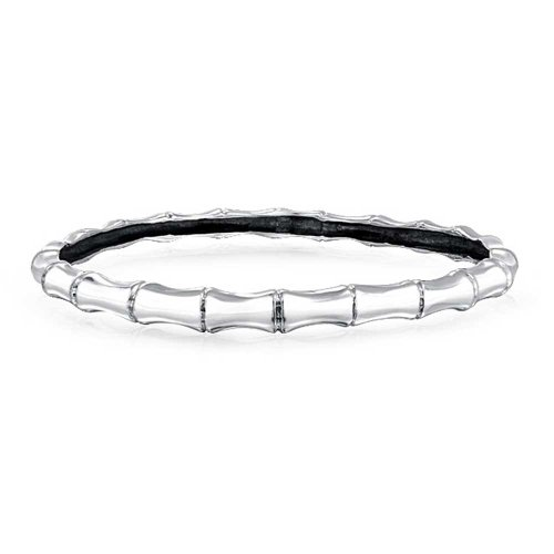 (Bamboo Motif Stackable Bangle Bracelet For Women 925 Sterling Silver 7.5in)