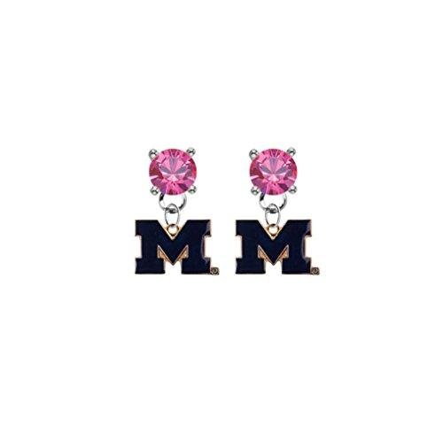 Michigan Wolverines Style 2 Pink Crystal Stud Post Dangle Earrings