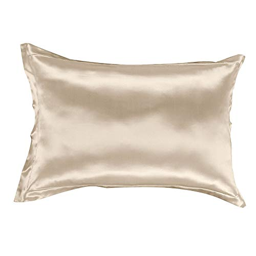 THXSILK 100% 19mm Mulberry Silk Pillowcase Sham for Hair and Skin Both Sides Real Silk Pillow Cover (King, Champagne) ()