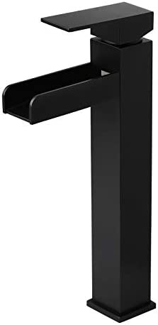 Homary Modern Solid Brass Matte Black Waterfall Bathroom Vessel Sink Faucet Open Channel Spout Cascade Bathroom Faucet with Pop Up Drain, Mid-tall Size cUPC Certified