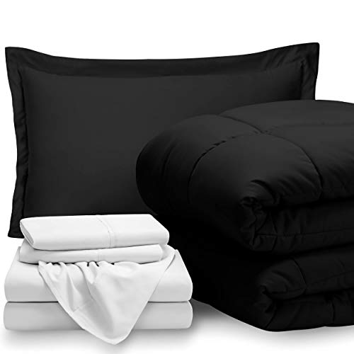 Bare Home Bed-in-A-Bag 5 Piece Comforter & Sheet Set - Twin - Goose Down Alternative - Ultra-Soft 1800 Premium - Hypoallergenic - Breathable Bedding Set (Twin, Black/White) (In Black And White Twin Bag Bed A)