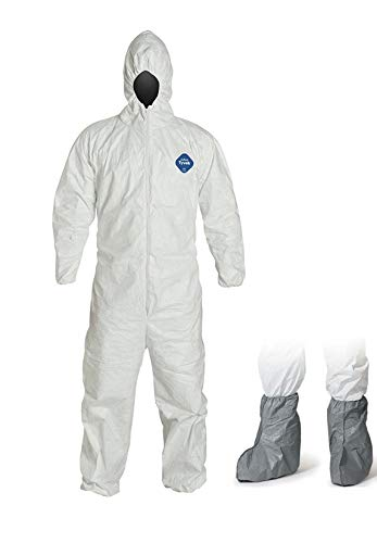 Tyvek Disposable - DuPont Tyvek Coverall with Elastic Cuffs, Elastic Ankles, Attached Elastic Hood, Disposable bundle with pair of separate boot covers, Pack of 6 (X-Large)