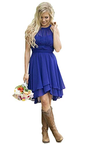 AlfaBridal Women's Country Bridesmaid Dresses Short Royal Blue Chiffon Wedding Guest Dress US18