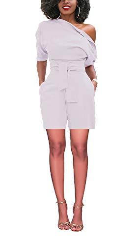 M.Brock Women's Sexy One Shoulder Wide Leg Short PantsJumpsuits Ropmer with Belt White -