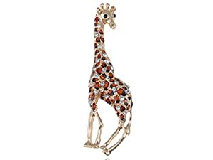 Alilang Gold Tone Clear Crystal Colored Rhinestones Brown Giraffe Spotted Brooch Pin