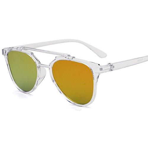 retro clear double beam sunglasses dazzling color sunglasses,C3 clear white red ()