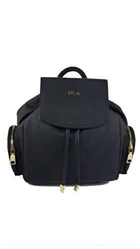 SYLK Medium Braided Handle Backpack Black Tote Shoulder Bag Handbag (Black) (Bcbg Black Bag)