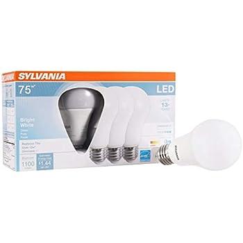 Sylvania Home Lighting 74427 Sylvania Dimmable Led Light Bulb, 12 W, 120 V, 1100 Lumens, 3500 K, CRI 80, 2.375 in Dia X 4.42 in L Bright White 4 Piece