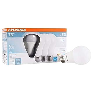 SYLVANIA General Lighting 74427 Sylvania Dimmable Led Light Bulb, 12 W, 120 V, 1100 Lumens, 3500 K, CRI 80, 2.375 in Dia X 4.42 in L, Bright White, 4 Count