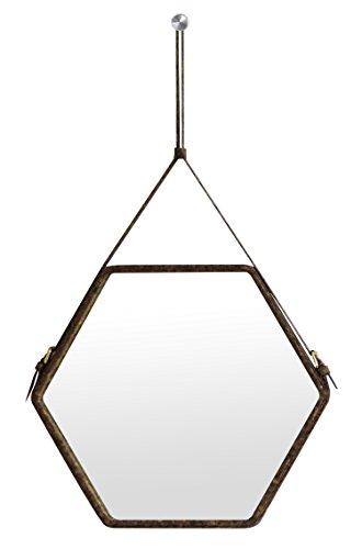 Ms.Box Real Cork Decorative Hanging Wall Mirror, Hexagonal Mirror with Adjustable Strap, Small Size, Dark Cork - Colors Hexagonal