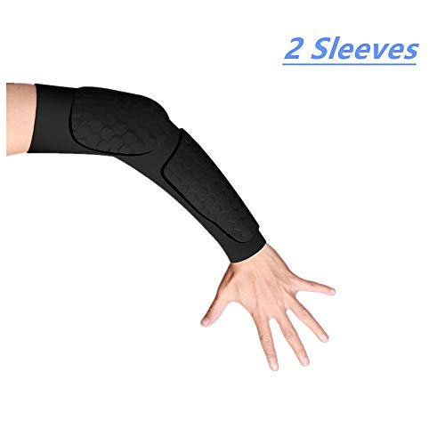 - Guozi Hand Arm Elbow Sleeve - Hex Padded Arm Sleeve - Compression Arm Sleeve with Elbow Pad for Football, Volleyball, Baseball Protection (2 Sleeves) (X-L)