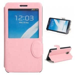 Automatic Wake/Sleep Flip PU and Plastic Protective Case with Crazy Horse Pattern for Samsung Note3 Pink
