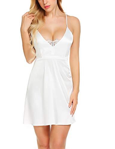 ELOVER Satin Nightgown Women Full Slip Satin Slip Dress Sexy Lingerie V Neck Sleepwear Lace Nightwear Backless Chemise (Sultry Lace Dress)