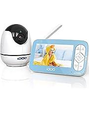 iDOO Video Baby Monitor, Real 720P 5-calowy wyświetlacz HD z kamerą i dźwiękiem, zdalne obracanie, pochylanie i powiększanie, dwukierunkowa rozmowa, monitor temperatury, noktowizor