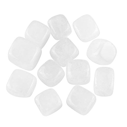 Jovivi 12pcs Natural Clear Quartz Crystal Chakra Healing Crystals Stones Kit Tumbled Gemstones Set for Energy Balancing Reiki Therapy Meditation Thumb Worry Stones (Quartz White Clear)