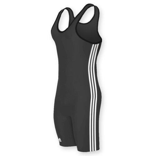 adidas Wrestling 3 Stripes Singlet - Black/White - Large